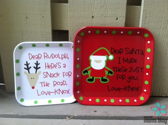 from Too Cute Embroidered & Personalized Gifts. Too Cute - Santa & Rudolph Plates