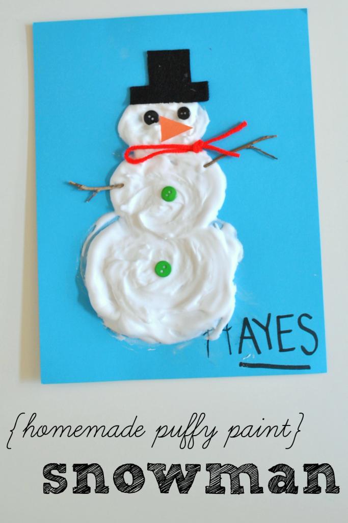 Homemade Puffy Paint Snowman