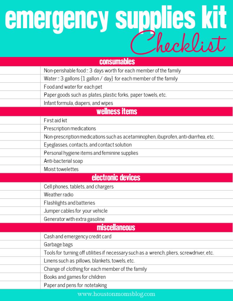 Emergency Supplies Kit Checklist