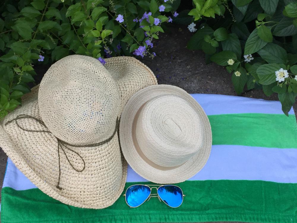 Pool Bag Essentials Hats and Glasses