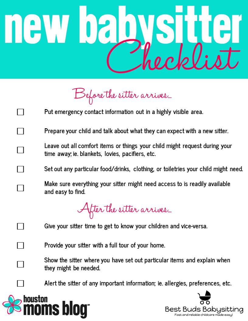 New Babysitter Checklist