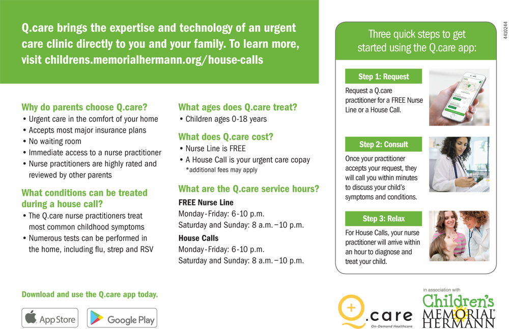 Children's Memorial Hermann & Q.care Expand Urgent Care House Call Service + Coverage for their FREE Nurse Line | Houston Moms Blog