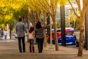 family walking around brian