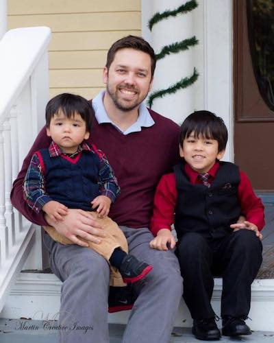 Dad with two children