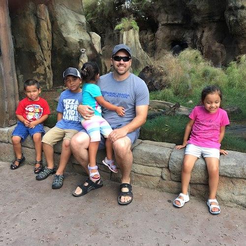 Dad with four children