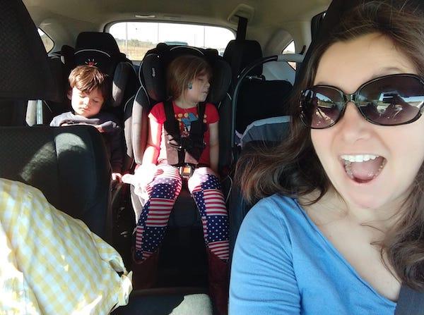 Sleeping kids on road trip