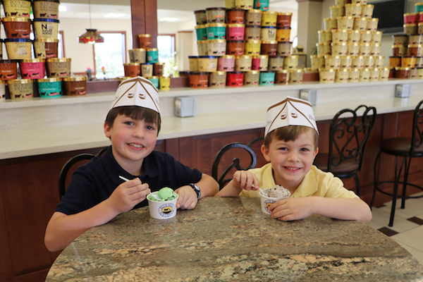 Kids eating ice cream at Blue Bell