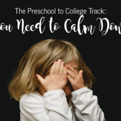The Preschool to College Track:: You Need to Calm Down